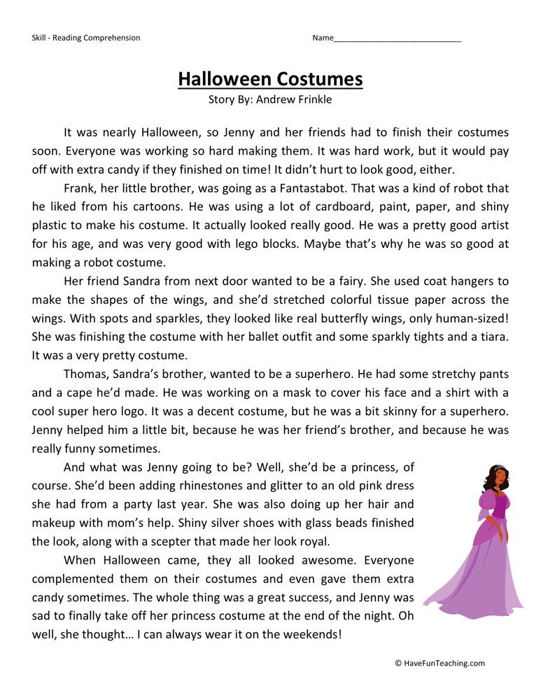 Reading Comprehension Worksheet Halloween Costumes