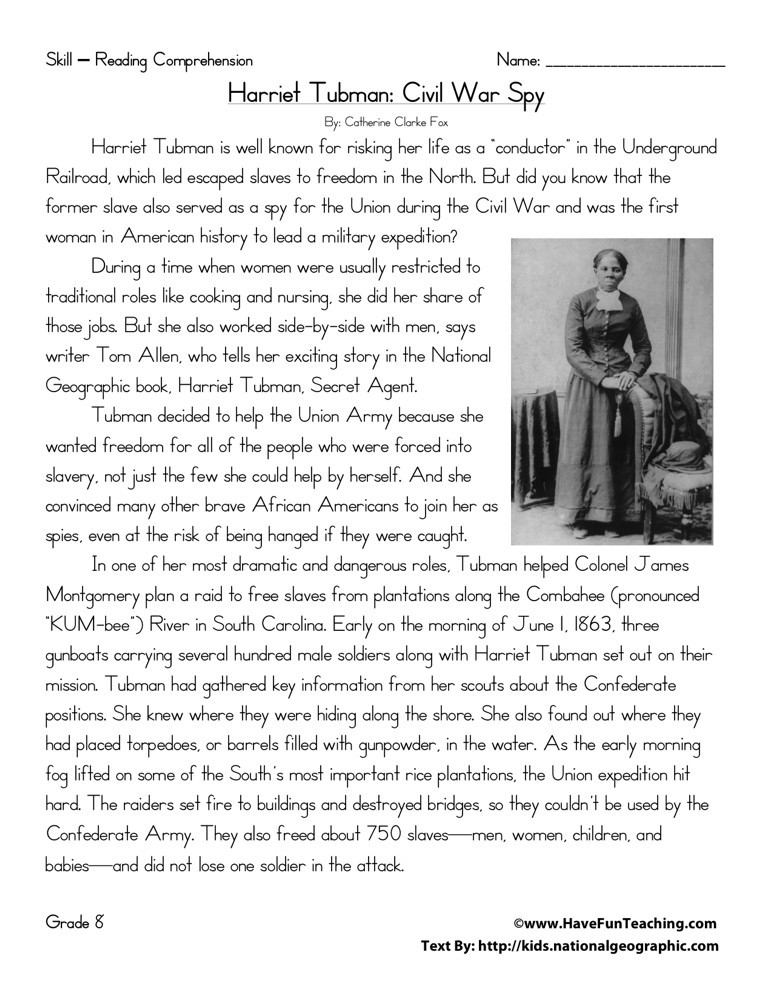 Reading Comprehension Worksheet - Harriet Tubman: Civil War Spy