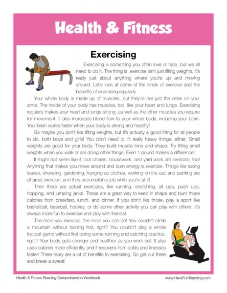 reading comprehension worksheet exercising. Black Bedroom Furniture Sets. Home Design Ideas