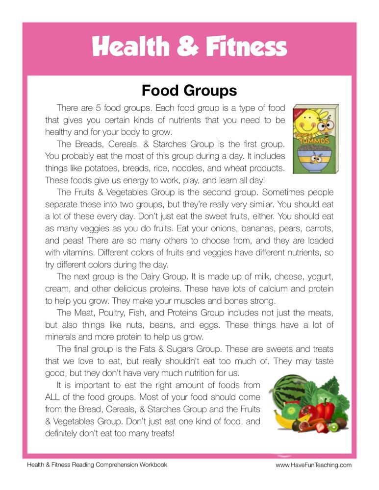 reading comprehension worksheet food groups. Black Bedroom Furniture Sets. Home Design Ideas