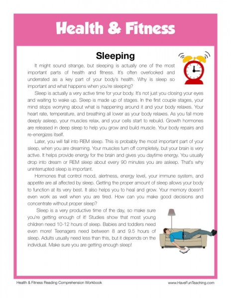 reading comprehension worksheet sleeping. Black Bedroom Furniture Sets. Home Design Ideas