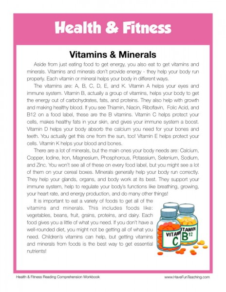 reading comprehension worksheet vitamins minerals. Black Bedroom Furniture Sets. Home Design Ideas