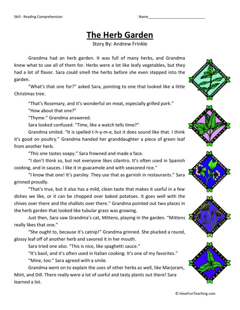 Reading Comprehension Worksheet - The Herb Garden
