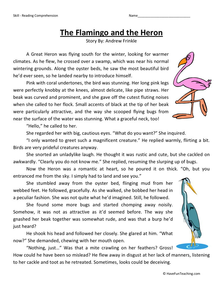 ... Fourth Grade Reading Comprehension Worksheets › The Flamingo and the