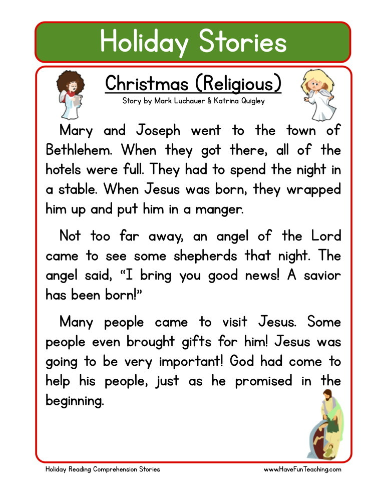 Reading Comprehension Worksheet - Christmas (Religious)