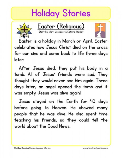 Reading Comprehension Worksheet - Easter (Religious)