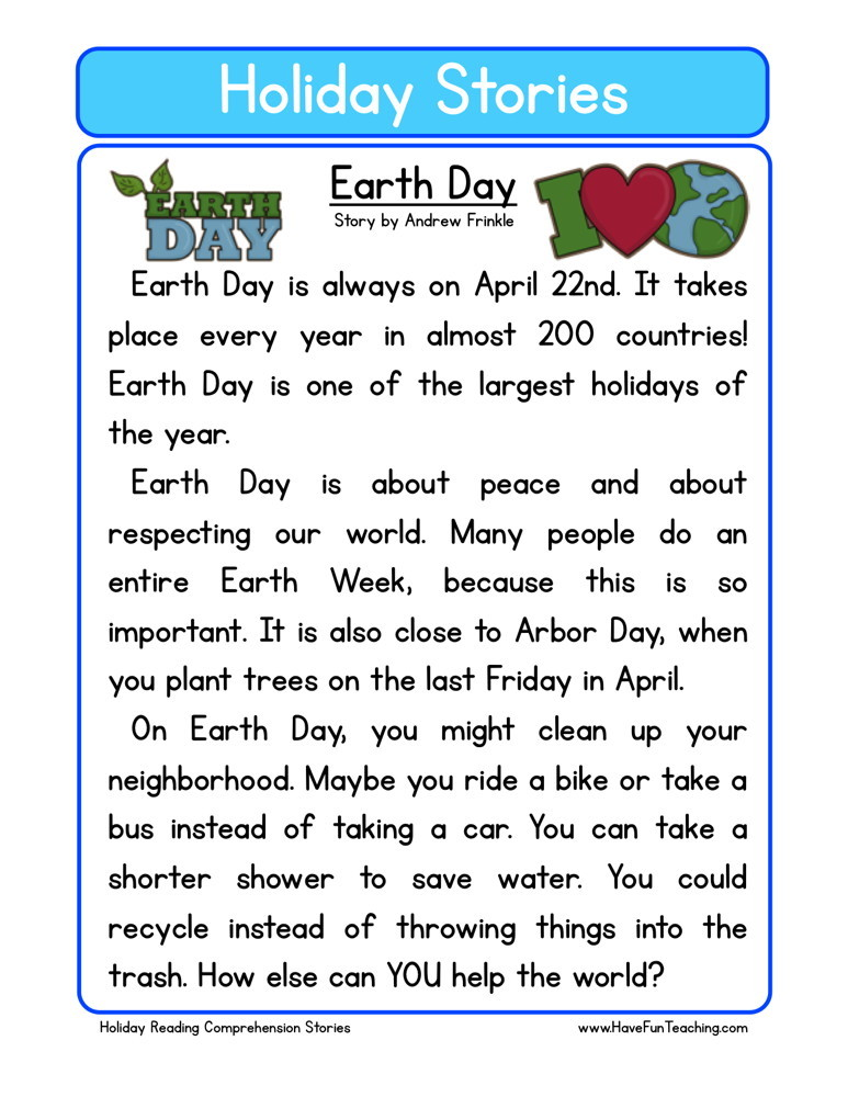 reading comprehension worksheet earth day. Black Bedroom Furniture Sets. Home Design Ideas