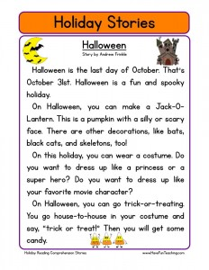 holiday reading comprehension worksheets - Free Halloween Reading Comprehension Worksheets