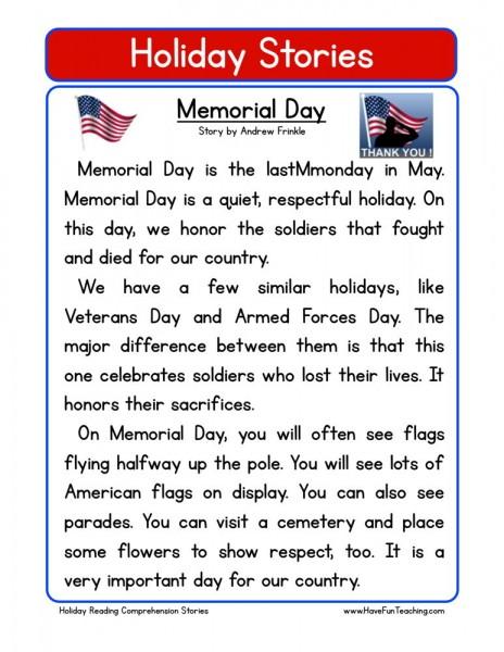 Memorial Day Worksheets 3rd Grade : Reading comprehension worksheet memorial day
