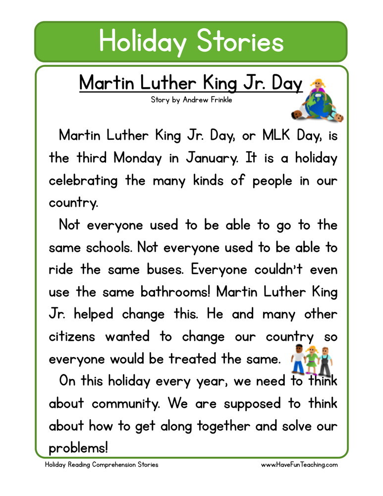 Reading Comprehension Worksheet Martin Luther King Jr Day