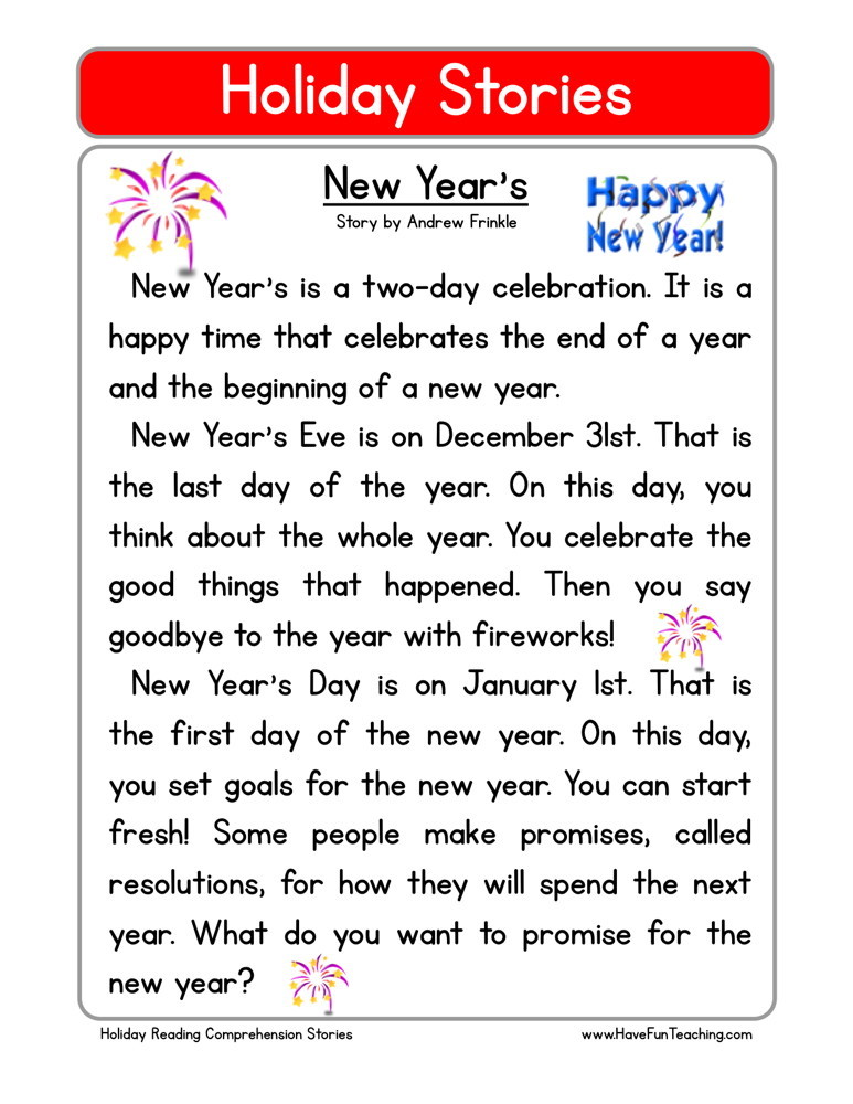 Reading Comprehension Worksheet - New Year\'s