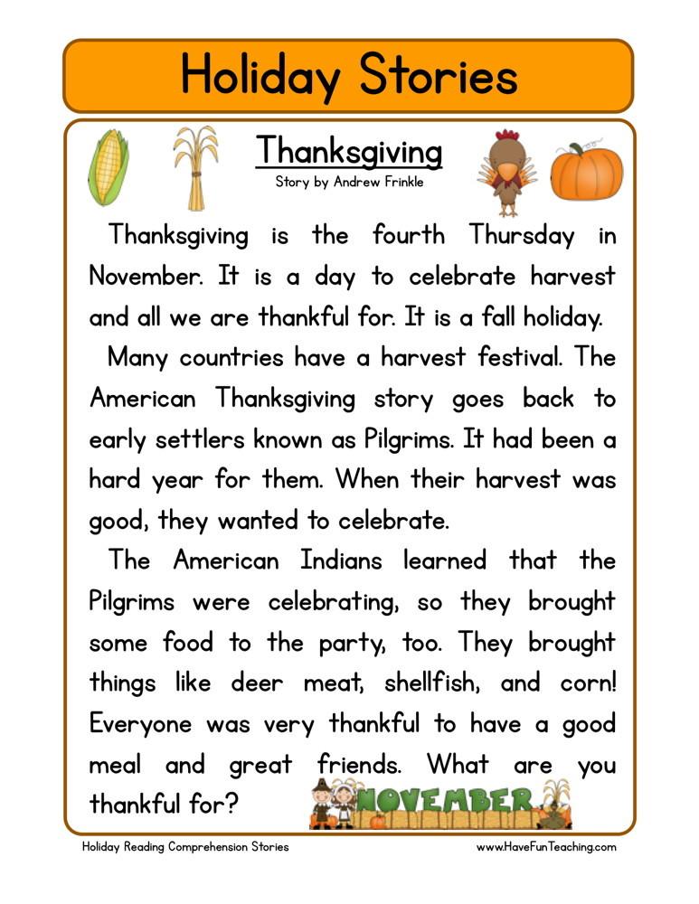 Free thanksgiving reading worksheets for 1st grade