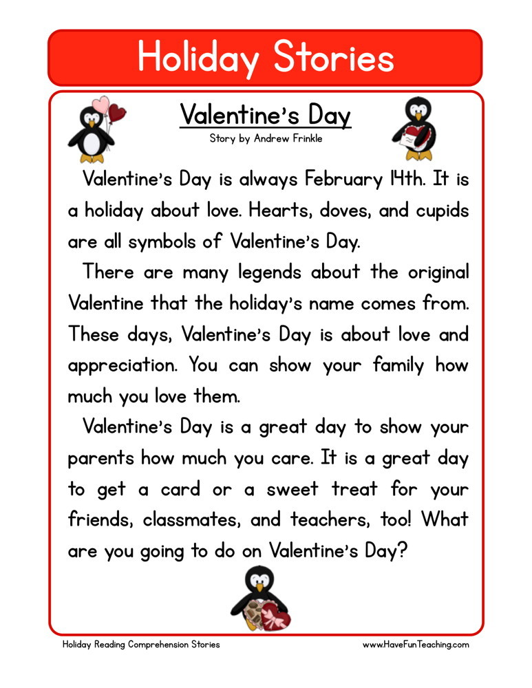reading comprehension worksheet   valentine s day