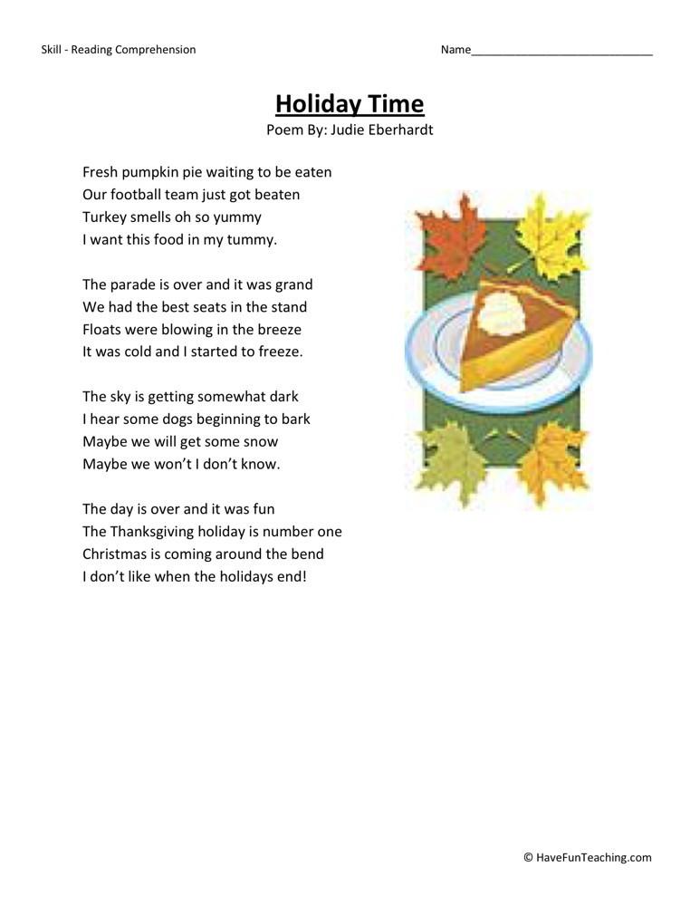 Reading Comprehension Worksheet - Holiday Time