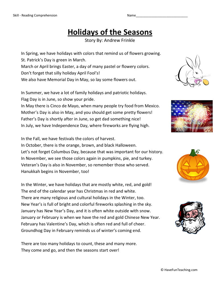 Reading Comprehension Worksheet - Holidays of the Seasons