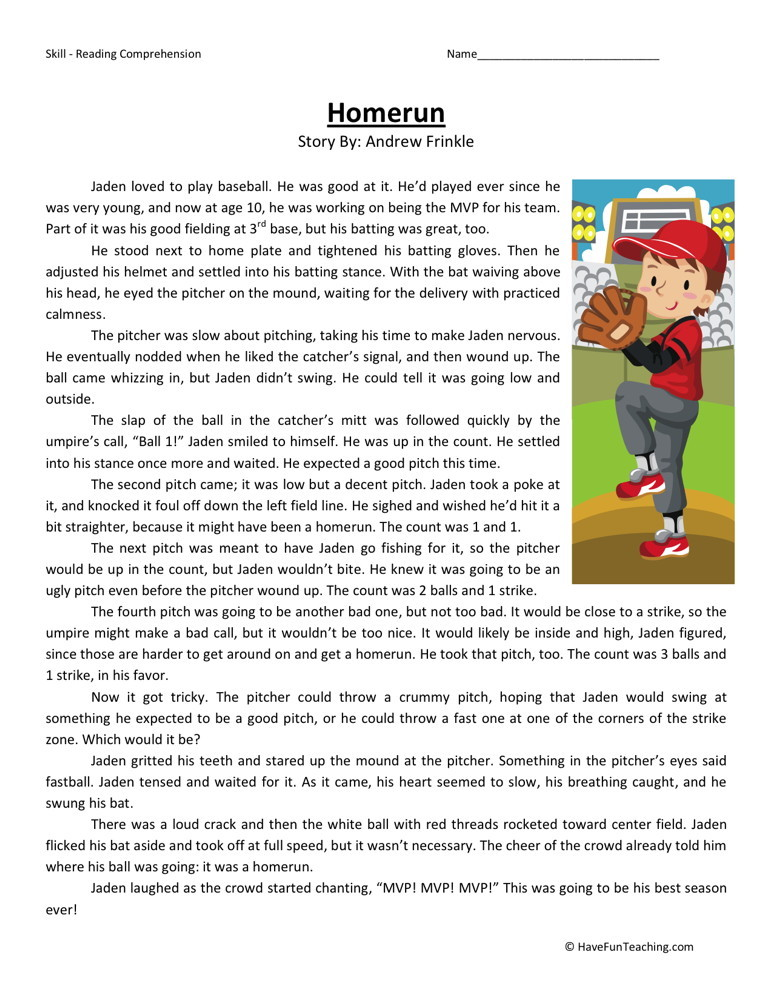 Reading comprehension worksheet homerun fourth grade reading comprehension worksheets homerun homerun ibookread ePUb