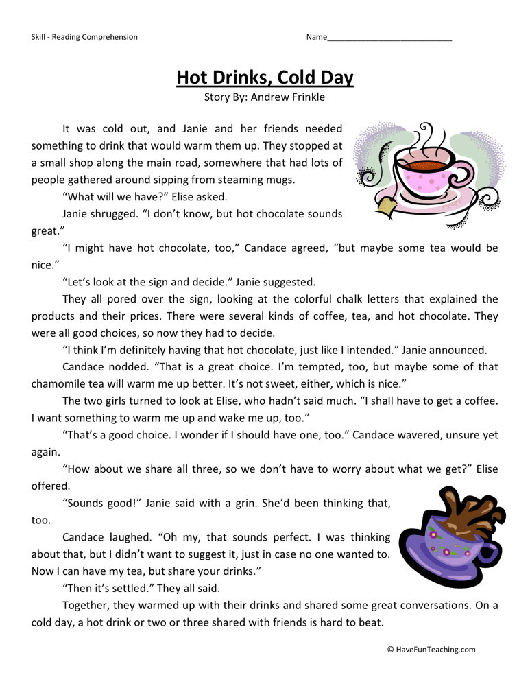 ... Third Grade Reading Comprehension Worksheets › Hot Drinks, Cold Day