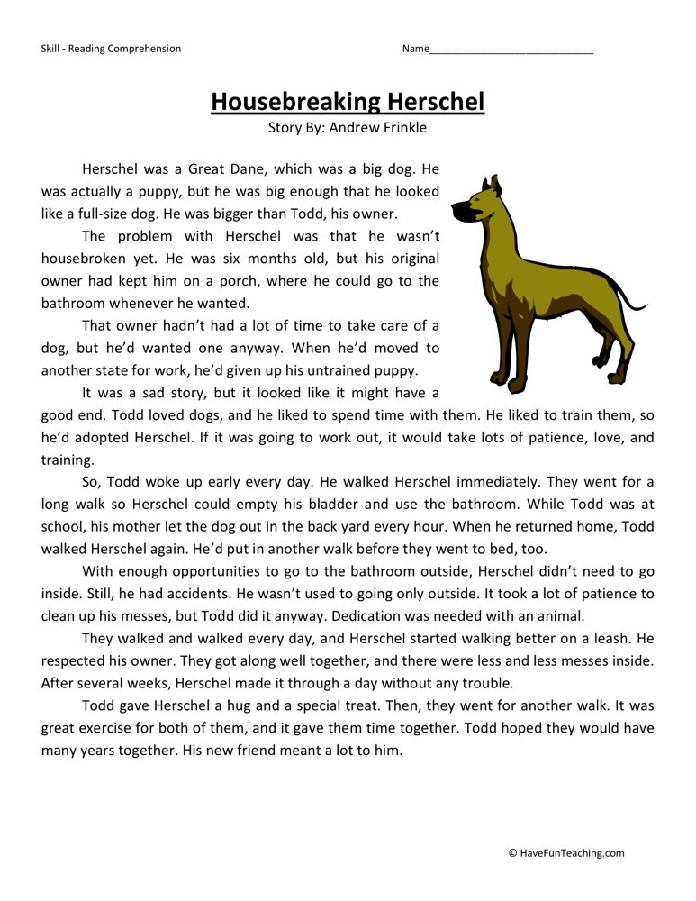 Fourth grade printable reading comprehension
