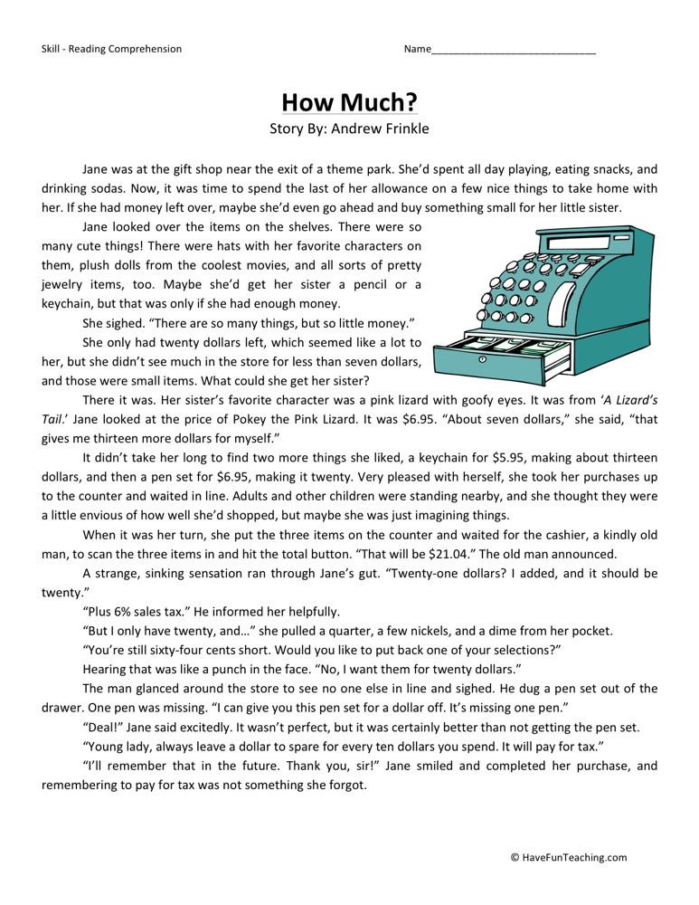 This is a picture of Universal Free Printable Reading Comprehension Worksheets for 4th Grade