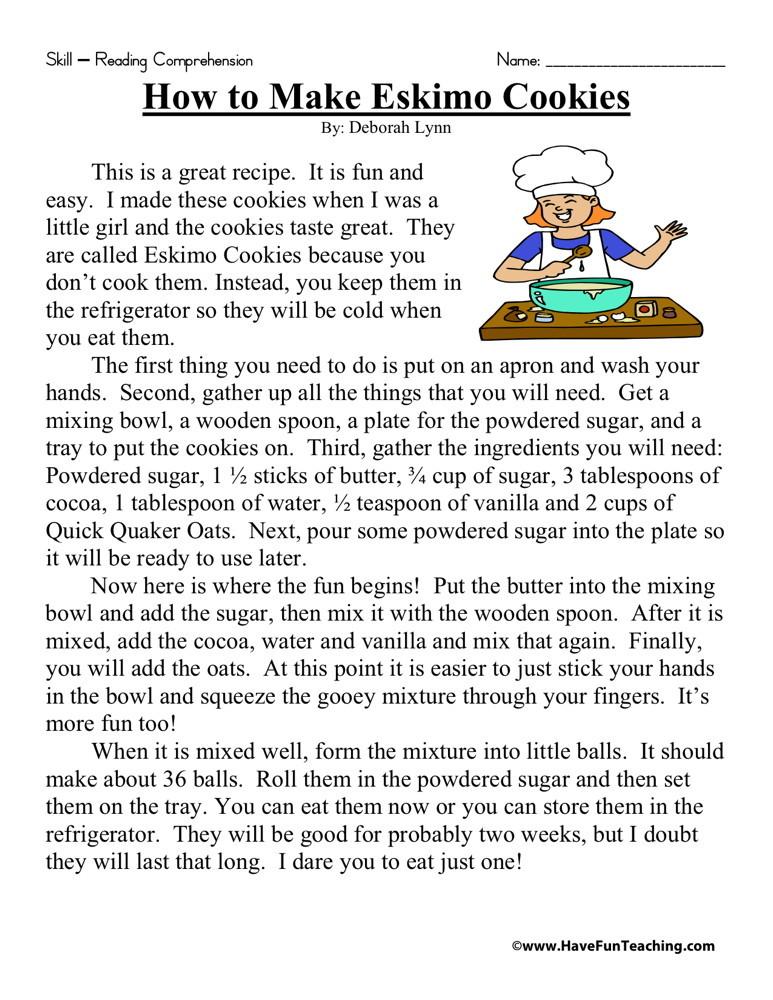 Reading Comprehension Worksheet - How to Make Eskimo Cookies