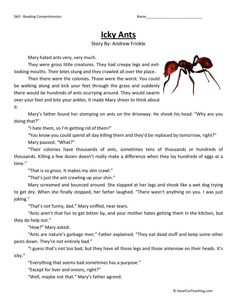 Reading Comprehension Worksheet Icky Ants
