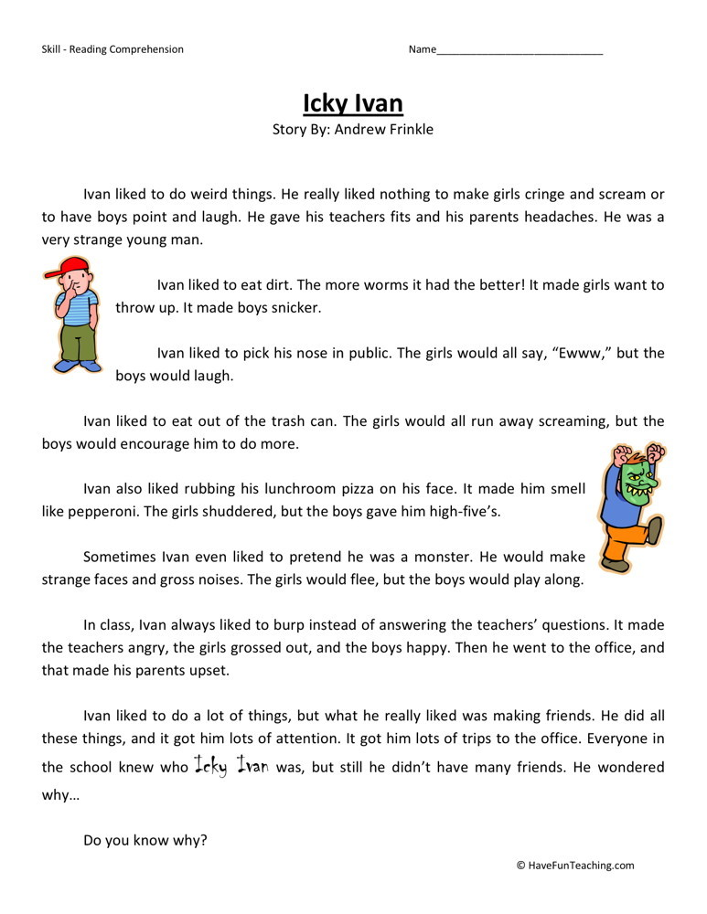 Reading Comprehension Worksheet 3rd Grade | Search Results | Calendar ...
