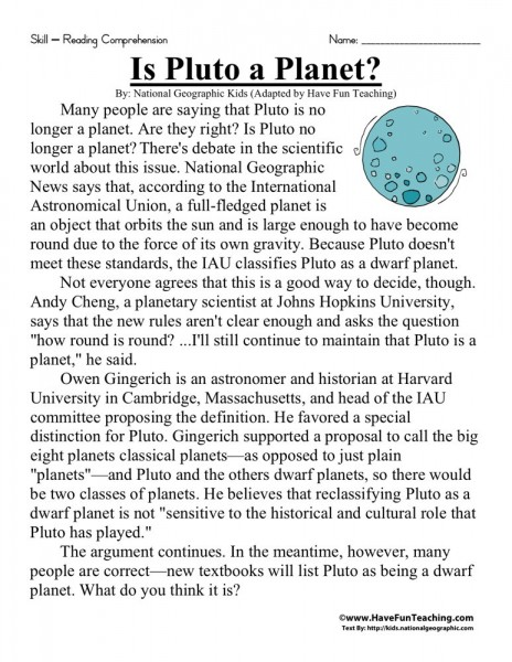 Worksheets For Sixth Grade : Reading comprehension worksheet is pluto a planet