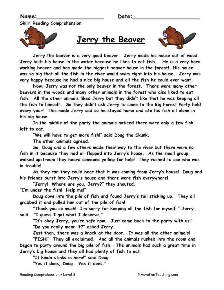 Reading Prehension Worksheet Jerry The Beaver