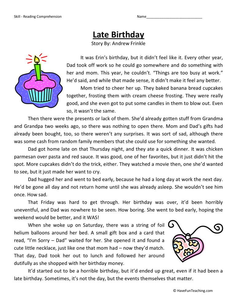 Reading Comprehension Worksheet   Late Birthday