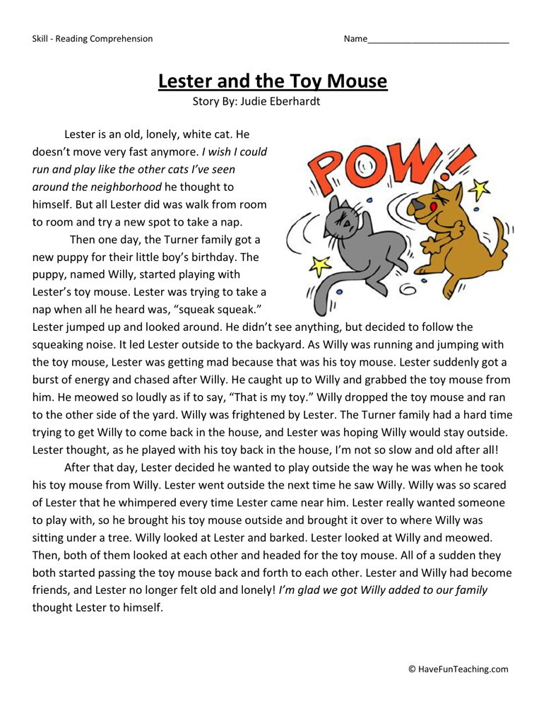 Reading Comprehension Worksheet - Lester and the Toy Mouse