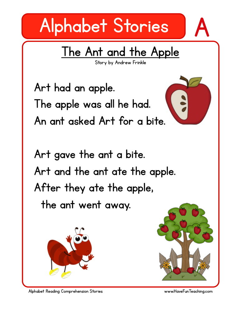 Reading Comprehension Worksheet - The Ant and the Apple