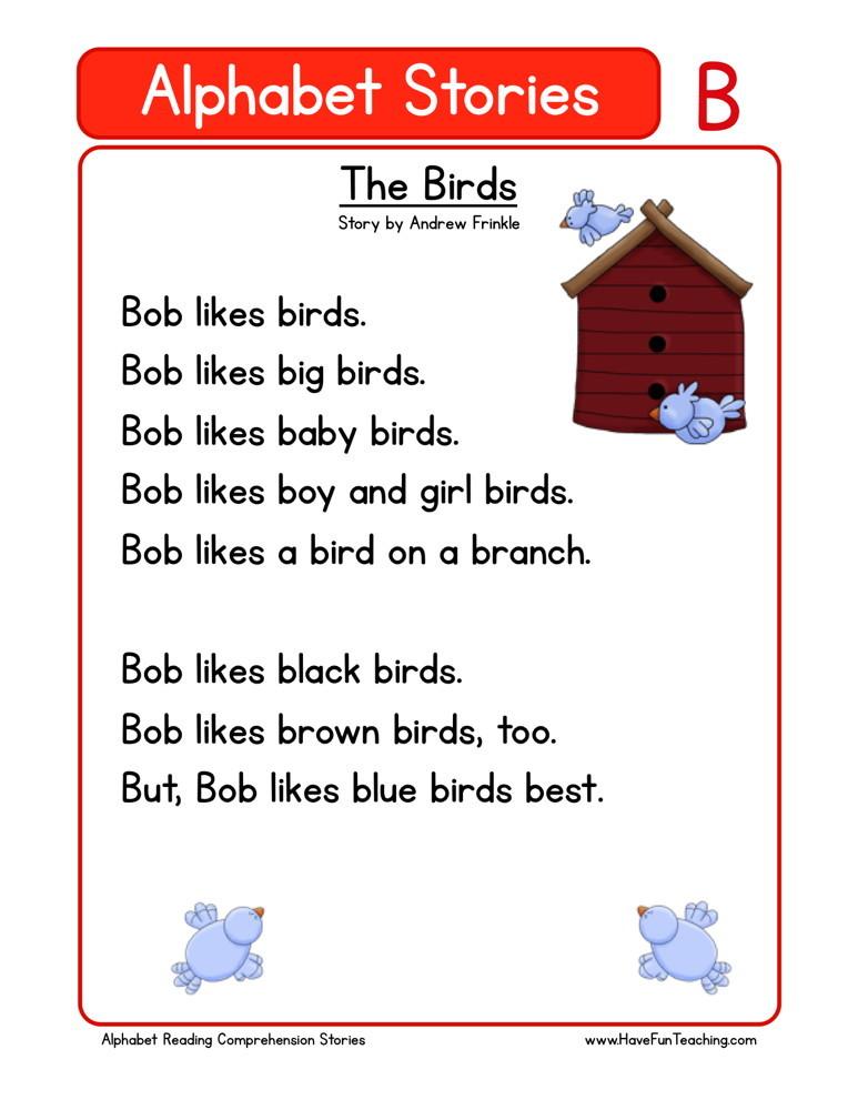 free letter b reading comprehension worksheet - Reading For Kindergarten