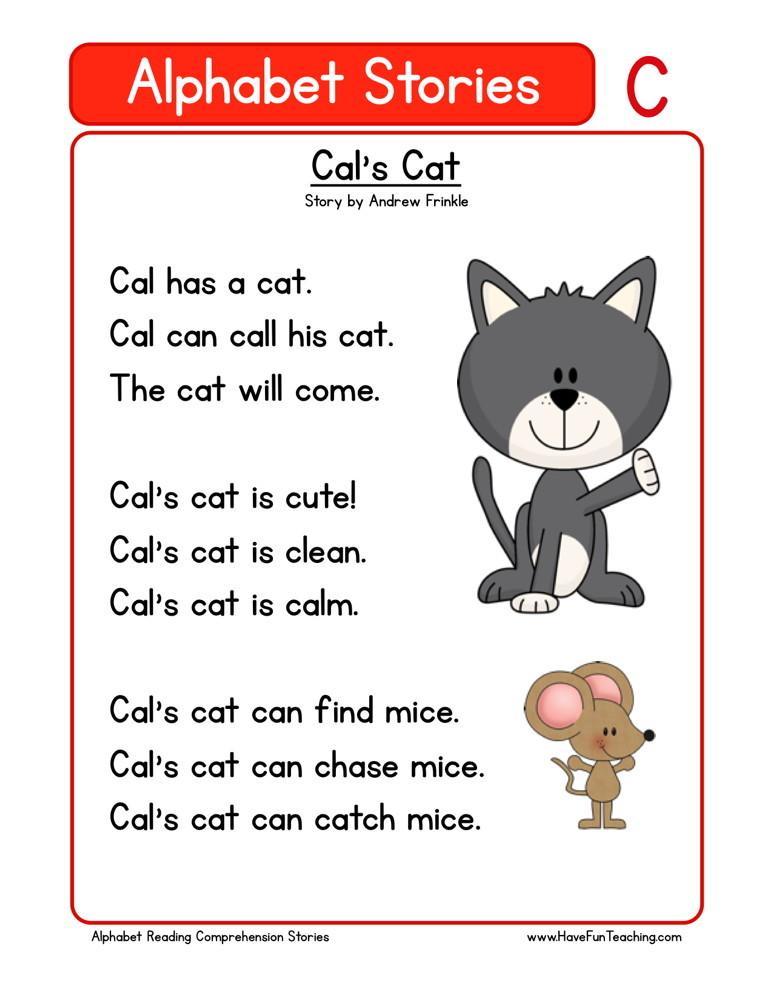 Reading Comprehension Worksheet - Cal's Cat