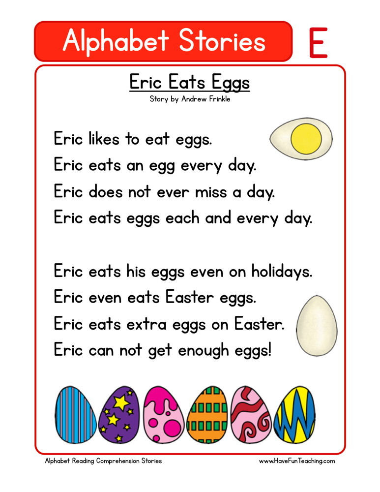 reading comprehension worksheet eric eats eggs. Black Bedroom Furniture Sets. Home Design Ideas