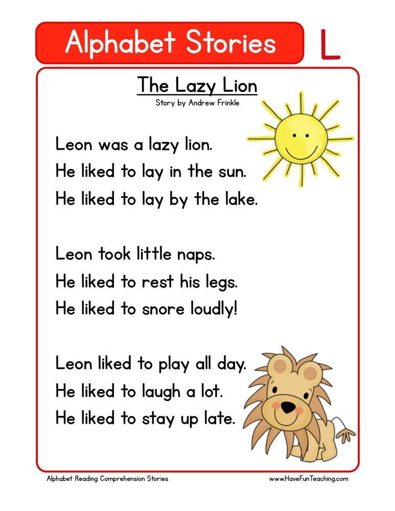 Reading Comprehension Worksheet - The Lazy Lion