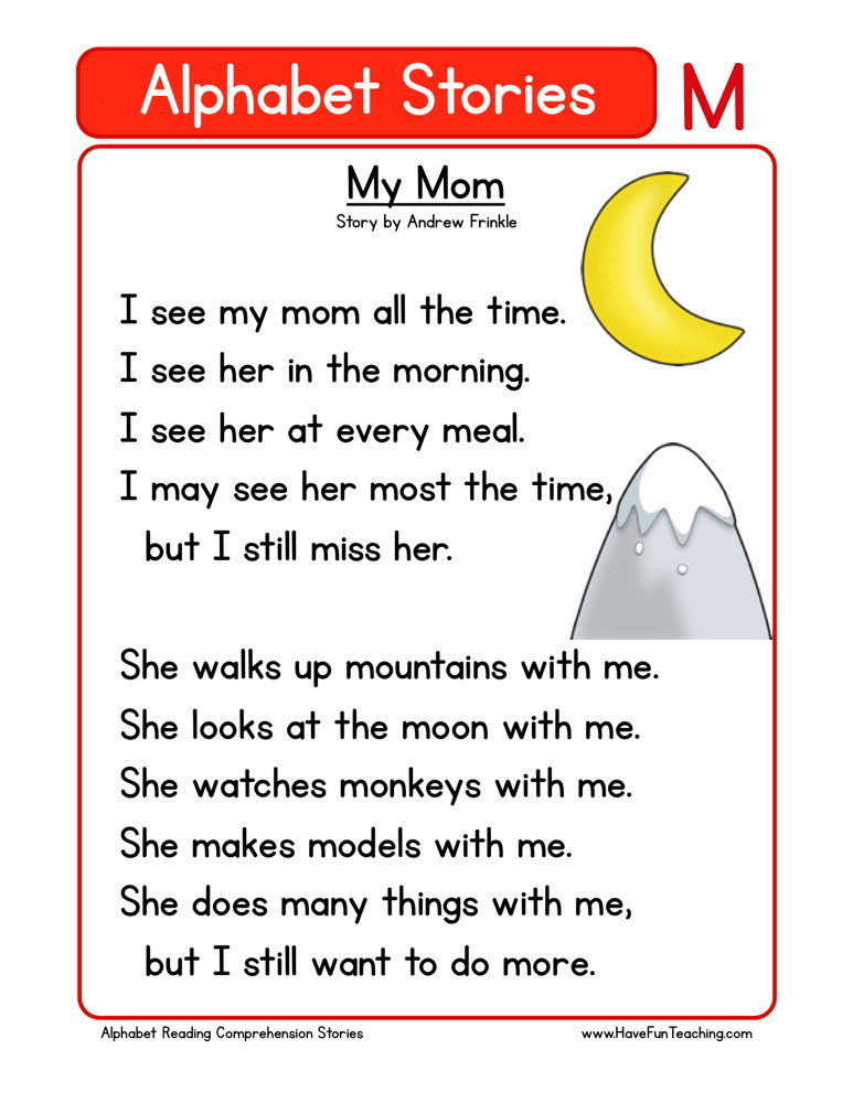 Reading Comprehension Worksheet My Mom