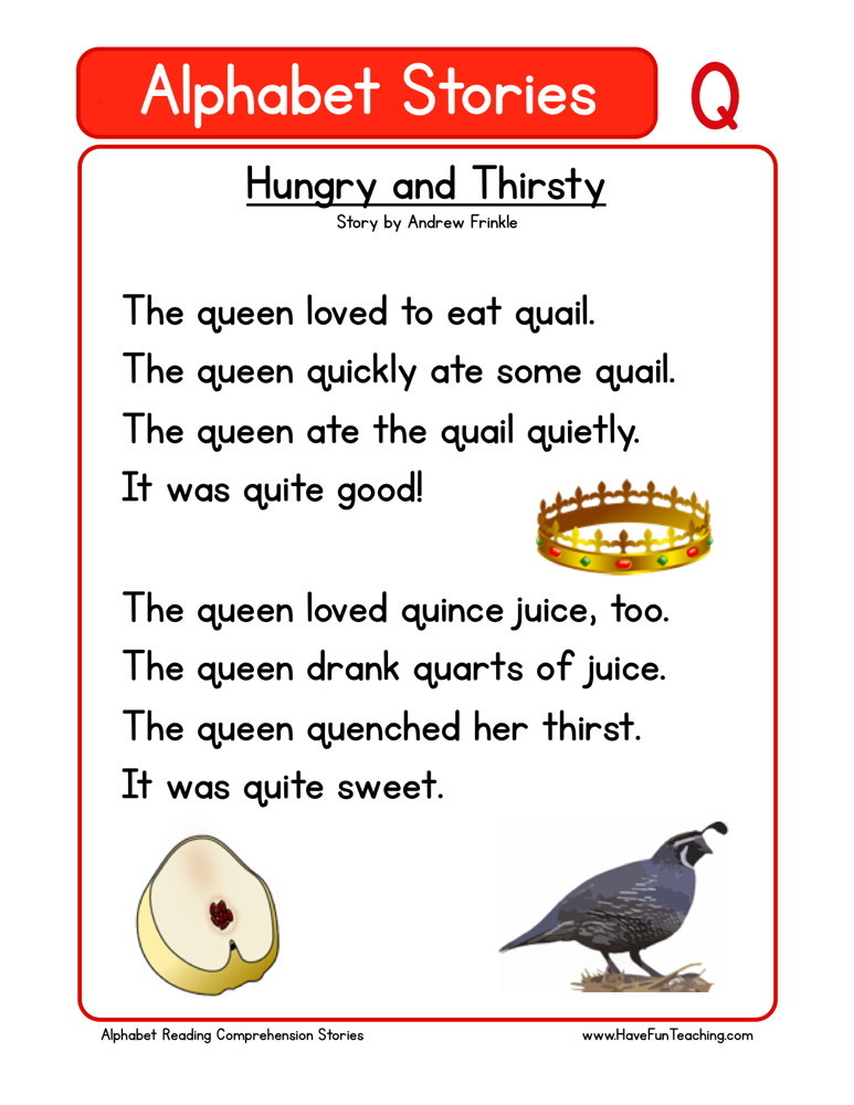 Reading Comprehension Worksheet - Hungry and Thirsty