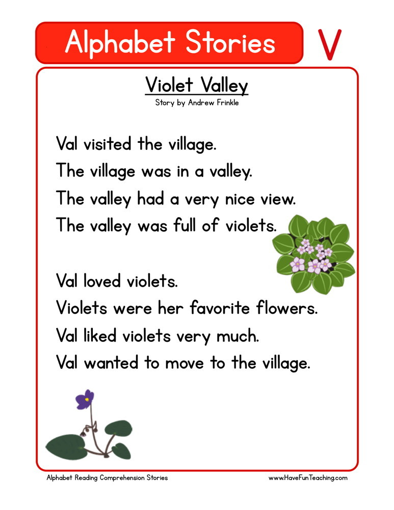 Reading Comprehension Worksheet - Violet Valley
