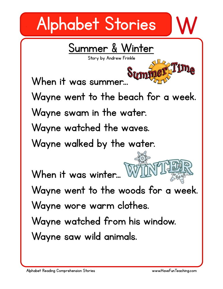 Reading Comprehension Worksheet - Summer & Winter