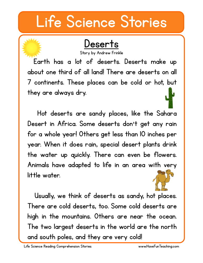 Reading Comprehension Worksheet - Deserts