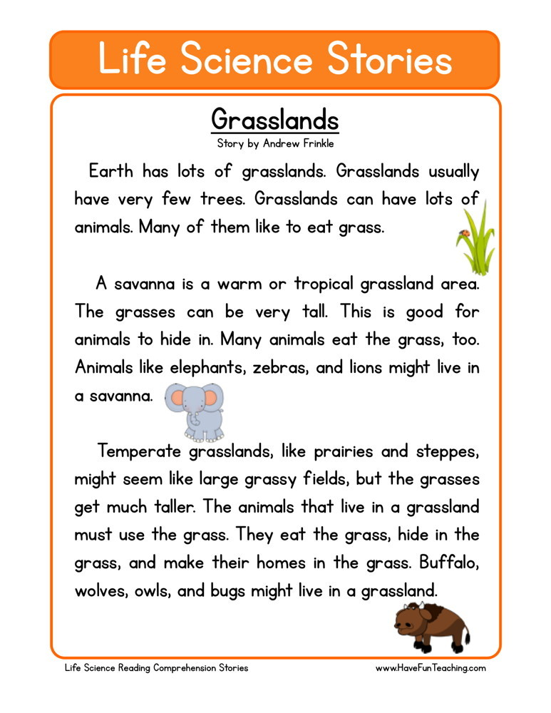 reading comprehension worksheet grasslands. Black Bedroom Furniture Sets. Home Design Ideas