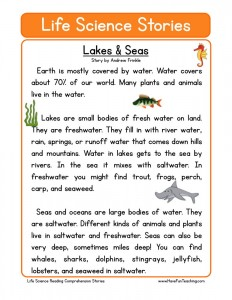 Printables Science Reading Comprehension Worksheets science reading comprehension worksheets download lakes seas