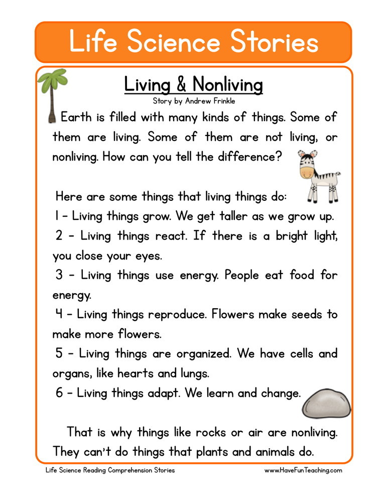 Science Reading Comprehension Worksheets