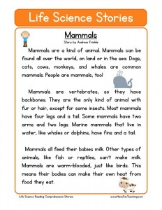 Printables Science Reading Comprehension Worksheets science reading comprehension worksheets download mammals