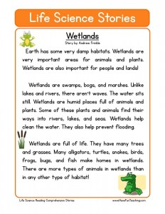 Printables Science Comprehension Worksheets science reading comprehension worksheets wetlands