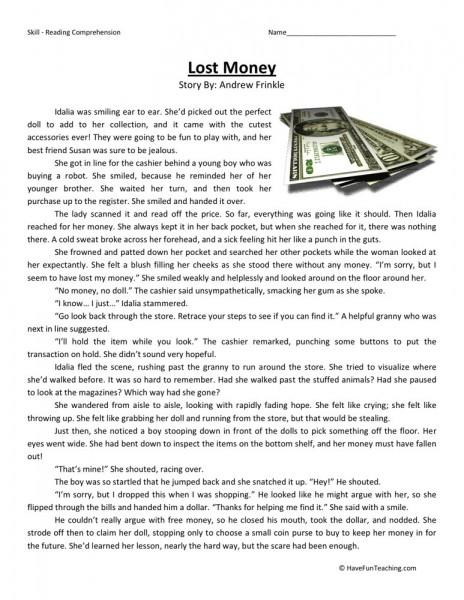 Reading Comprehension Worksheet - Lost Money