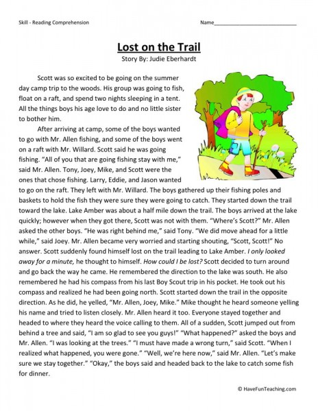 Reading Comprehension Worksheet - Lost on the Trail