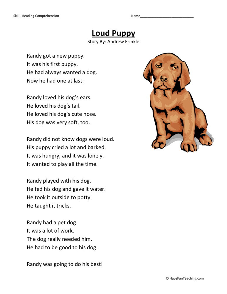 Reading Comprehension Worksheet - Loud Puppy