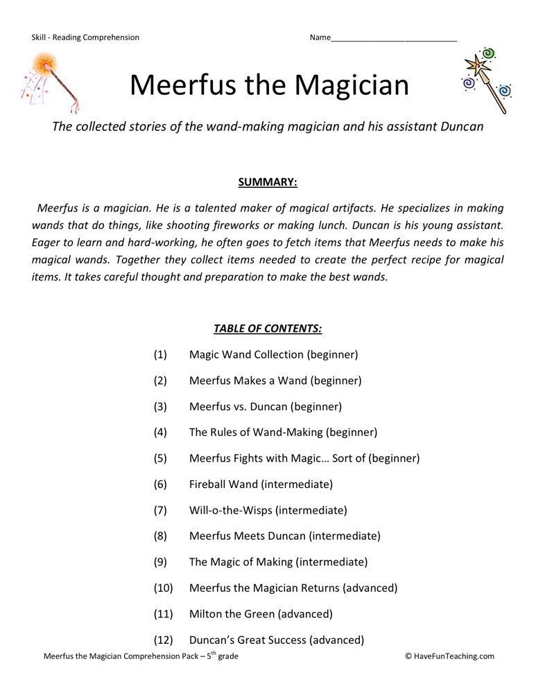 Reading Prehension Worksheet Meerfus Meets The Magician