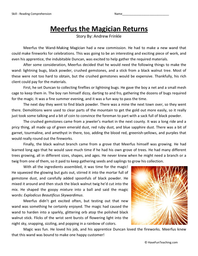Reading Comprehension Worksheet Meerfus the Magician Returns – Free Printable Reading Comprehension Worksheets
